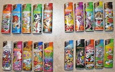 ED HARDY TATTOO LED DELUXE  LIGHTER SET OF 5 ONE OF EACH DESIGN NEW REFILLABLE