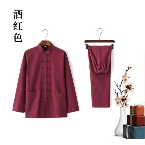 Men Linen Shirt + Trousers Set Tang Suit Traditional Chinese Kung Fu Pants Tops