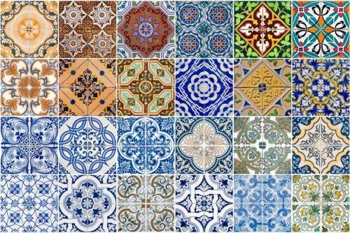 24 PC TILE Stickers Spanish decals Portuguese Pattern decor Kitchen Bathroom A4