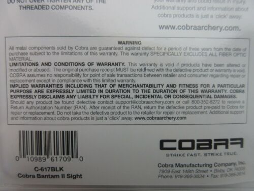 "Cobra Archery Bantam 2  3-Pin Sight right or left hand .039/"" Black C-617BLK"