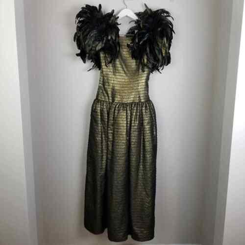 vintage Victor Costa feather shoulder gold gown