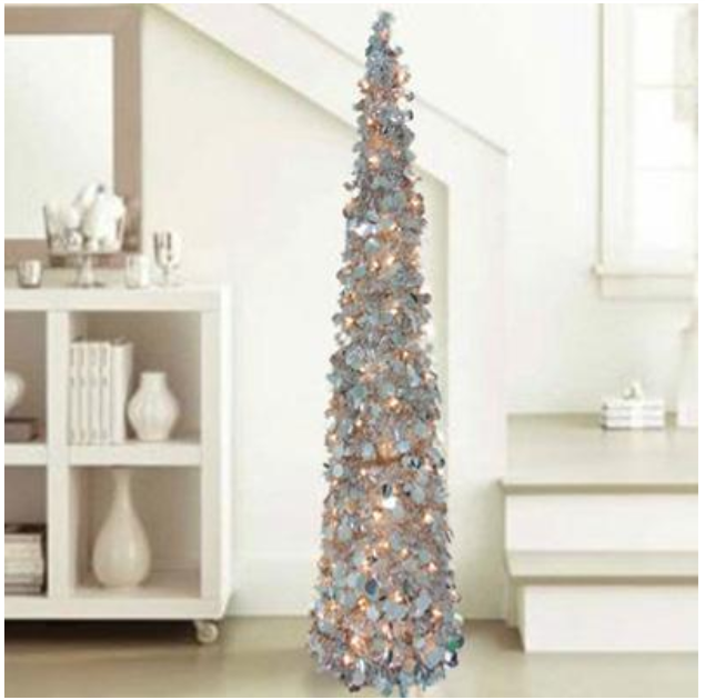Silver Tinsel Pop Up Christmas Tree: 5' Lighted Silver Christmas Tinsel Pop Up Tree Indoor