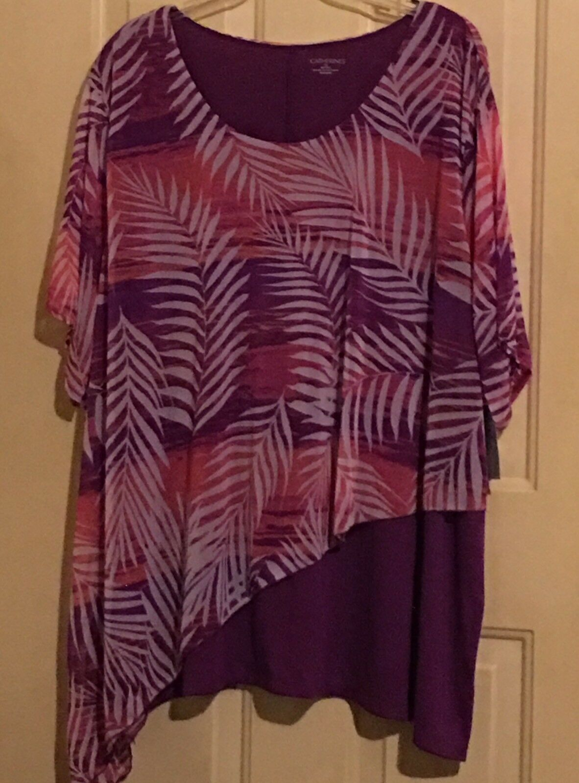 damen CATHERINES 5X TOP SHIRT MULTIFarbe NWT lilaS Rosa FLORAL LEAVES 34 36W