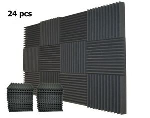 24-Pack-1-034-x-12-034-x-12-034-Acoustic-Foam-Tiles-Panel-Wedge-Studio-Soundproofing-Wall