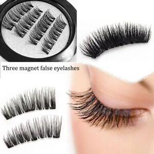 2Pairs-Triple-Magnetic-Eyelashes-Handmade-Reusable-False-Eye-Lashes-Extension-UK