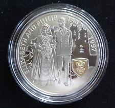 1997 SILVER PROOF FALKLAND ISL'S £5 COIN WITH GOLD CAMEO + COA'S GOLDEN WEDDING