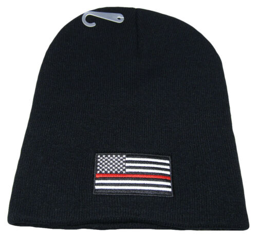 """8/"""" Black USA American Fire Thin Red Line Embroidered Beanie Skull Cap Hat"""
