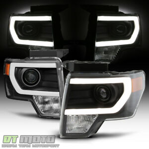 2014 F150 Headlights >> Details About New Black 2009 2014 Ford F150 Raptor Led Tube Drl Projector Headlights Headlamps