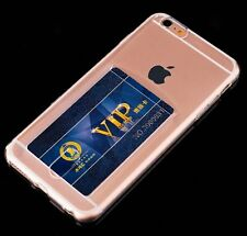 For iPhone 6 / 6S - TPU RUBBER GUMMY SKIN CASE CLEAR CREDIT CARD ID HOLDER COVER