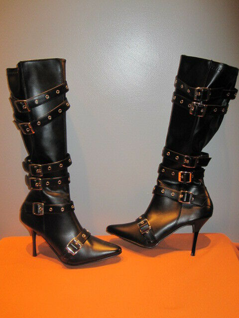 New Black Pirate Strappy Buckle Heels Boots Vegan Warrior Princess Gothic 10 E41