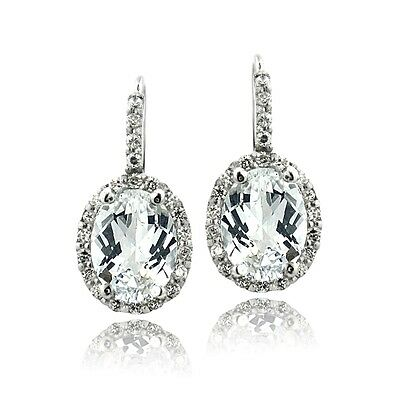 925 Silver 4.4ct White Topaz & CZ Oval Halo Leverback Earrings