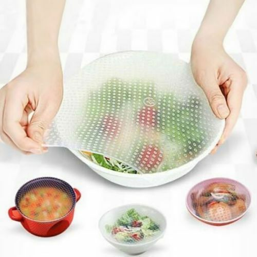 4pcs Set Reusable Silicon Wraps Cover Stretch and Fresh Food Storage Kitchen Use