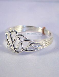 Silver-4-Band-Turkish-Puzzle-Ring-Open-Weave-Style-Sterling-Plated