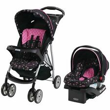 Stroller And Car Seat Travel System Pink Floral Infant Pram Pushchair Baby New