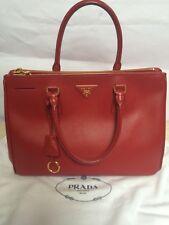 f9f513cc6290 Authentic PRADA Saffiano Leather Fuoco Red Double Zip Lux Women s Tote Hand  Bag