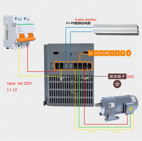 220V 4KW 5.4HP 17A 1 to 3 Phase Vector converter Control VFD For CNC W// 5M Cable