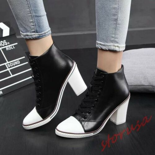 Womens Graffiti pointy toe sneakers lace up chunk high heel Sport Pump Shoes Sz