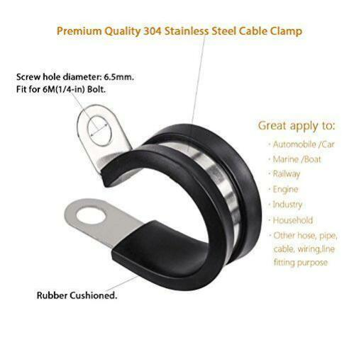"""20 Pcs 3//4/"""" Rubber Cushioned Insulated Stainless Steel Cable Wire Clamp Holder"""