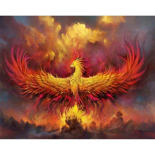 5D DIY Full Drill Diamond Painting Fire Phoenix Cross Stitch Embroidery Kit C#P5