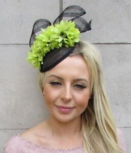 Black   Lime Light Green Flower Hat Fascinator Races Wedding Hair ... a8806a61d49d