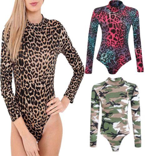 Femmes Leopard /& Armée imprimé à encolure POLO manches longues Combinaison Taille UK 8-26