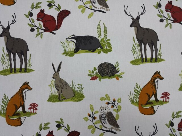 Clarke and Clarke Dunham Foxes Rabbits Owls Designer Curtain Upholstery Fabric