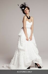 4a0f918f4934 Image is loading CHRISTIAN-SIRIANO-Strapless-Wedding-Dress -with-Rosette-Covered-