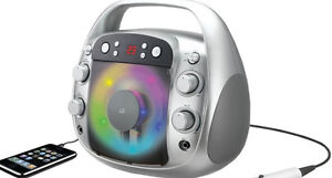 GPX-J100S-Portable-Karaoke-Party-Light-Up-LED-CD-Player-Machine-Speaker-NO-MIC