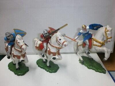 Konvolut 3 alte Elastolin Kunststoff Figuren zu 7.5cm Reiter Normannen Ritter