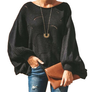 Autumn-Women-Long-Sleeve-Loose-Pullover-Sweater-O-Neck-Knit-Tops-Solid-Sweaters