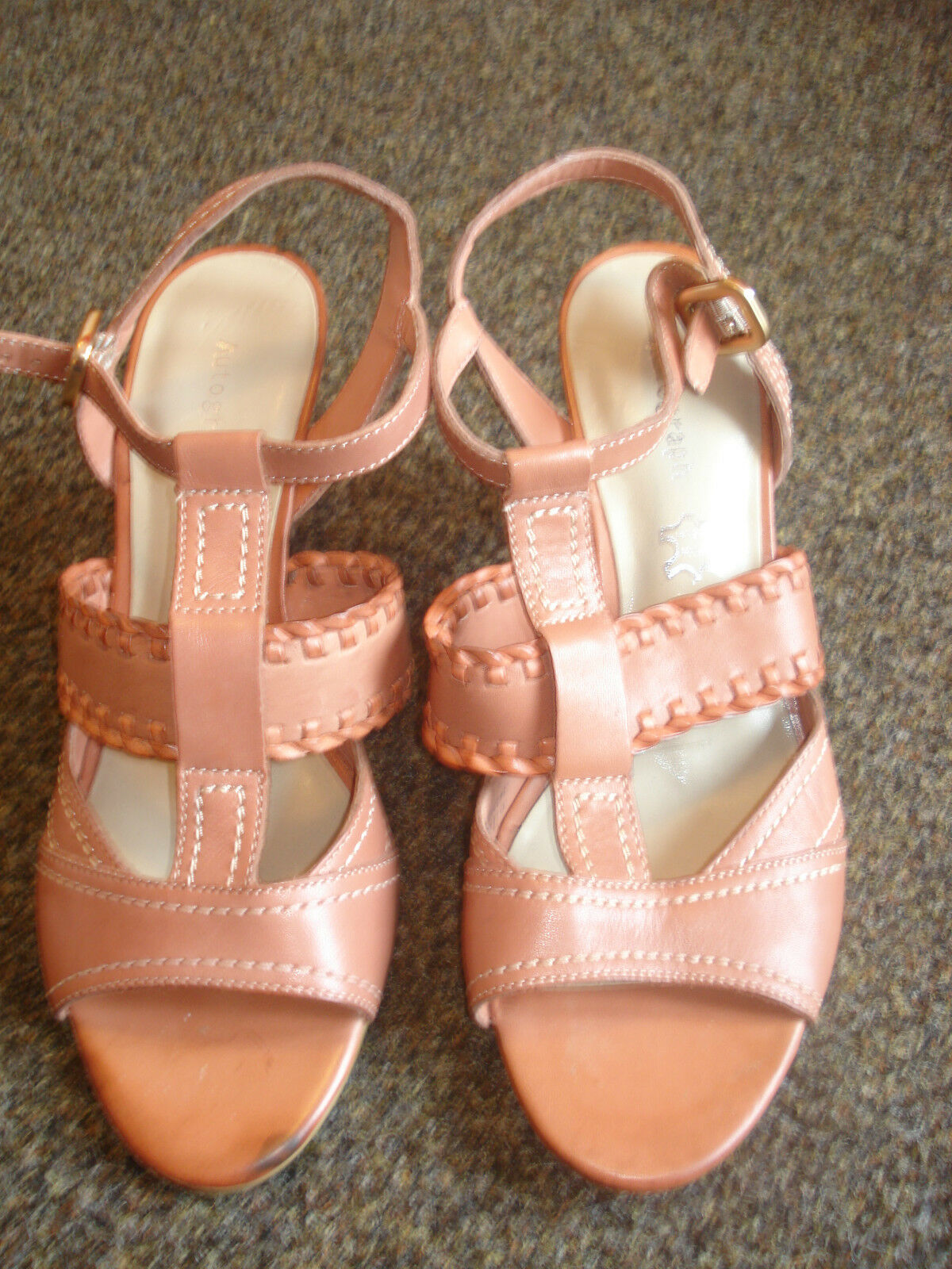 bnwot new ladies  marks & spencer brown heeled strappy shoe size 5 (38)