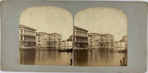 Stéréo, Italie, Venise, palais sur le grand Canal Vintage stereo card,  Tirage