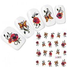 Tattoo Nagel Sticker Butterfly Schmetterling Nägel Aufkleber Nail Art Flower