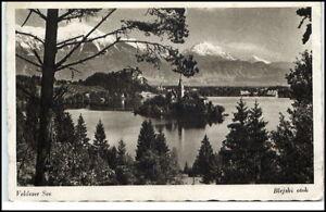 Bled-Veldes-Slowenien-Postkarte-1943-gelaufen-Veldeser-See-Blejski-otok-Insel