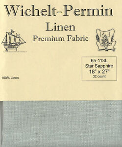 Wichelt-Permin-PREMIUM-LINEN-FABRIC-32-Count-Cross-Stitch-18-x-27-STAR-SAPPHIRE