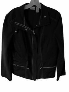 Chicos-Womens-Jacket-Black-Zip-Up-Snap-Pocket-Mock-Neck-Tie-Waist-Stretch-2-L-12