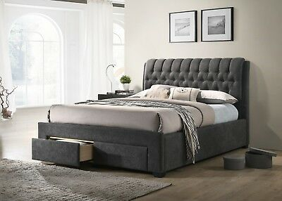5bda5abe20c7 Details about Armagh Fabric Chesterfield Storage Bed Frame With 2 Drawers  Various Sizes