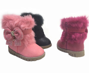 Kinder-Winter-Stiefel-Maedchen-Baby-Boots-Shoes-Stiefeletten-Strass-warm-21-25