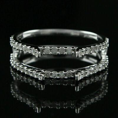 1//2ct Solitaire Diamond Enhancer Wrap Engagement Ring 14K White Gold Fn FINE EDH