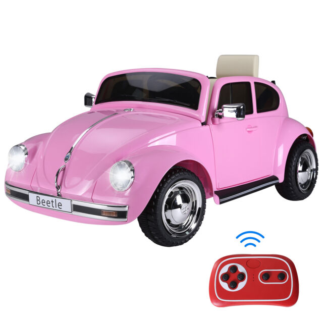 Aosom Licensed Beetle Electric Kids Ride-On Car 6V Battery Powered Toy, Pink