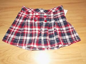 409245e83a Girl's Size 5 Gymboree Red White Navy Blue Plaid Pleated Mini Skirt ...