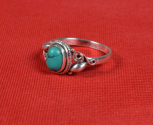925 Solid Sterling Silver Ring Natural Turquoise Gemstone tous nous Taille JR43