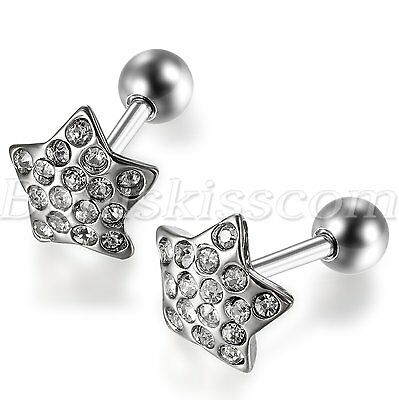 1 Piece Stainless Steel Pentagram Shape Rhinestone Stud Earring
