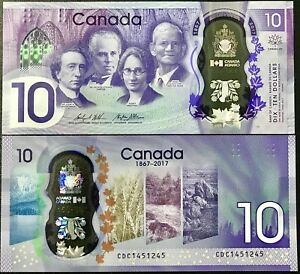 "CANADA 10 DOLLARS 2017 P-NEW POLYMER /""150th Annyversary of Confederation/"""