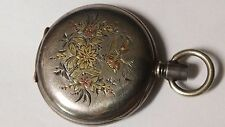 Gorgeous Coin Silver Multi color Demi hunter pocket watch case. Must see!!