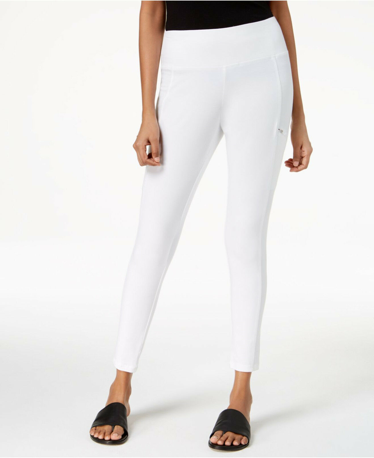 Eileen Fisher White Organic Cotton Pull-On Stretch Knit Skinny Pants  S