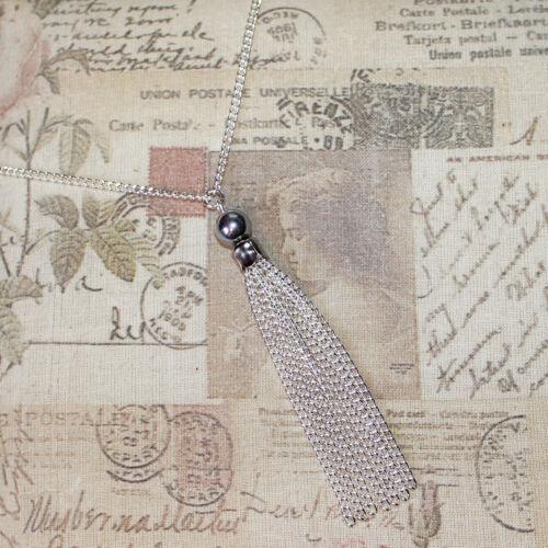 Aleta//Vintage//Gatsby//década De 1920 largo Collar de Plata con Perlas de Plata /& Borla