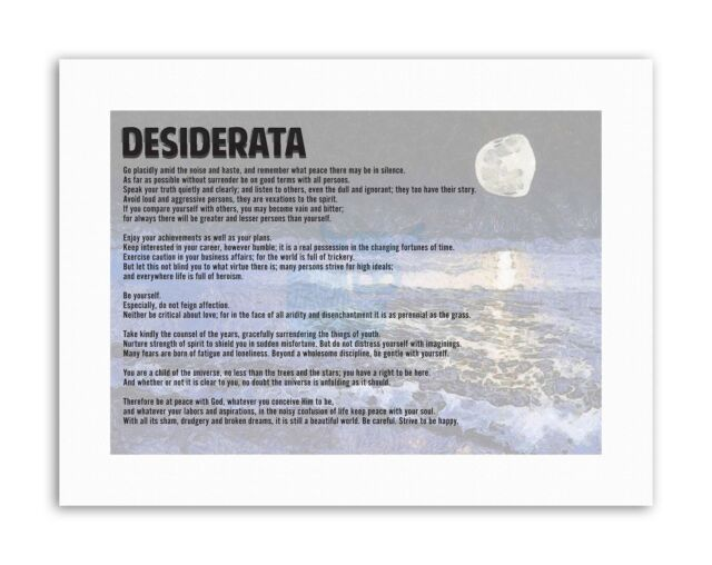 Desiderata Ehrmann Go Placidly Amid Noise Haste Quote Typography Framed Print