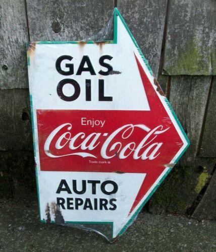 Coca Cola Gas Oil  Auto Repairs Service Station Tin Metal Arrow Sign Mancave