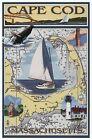 Cape Cod Massachusetts Nautical Chart Lighthouse Boat Whale, Modern Map Postcard